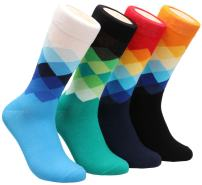 4 Pack Mens Colorful Argyle Patterned Casual Dress Cotton Socks,7-12 W702