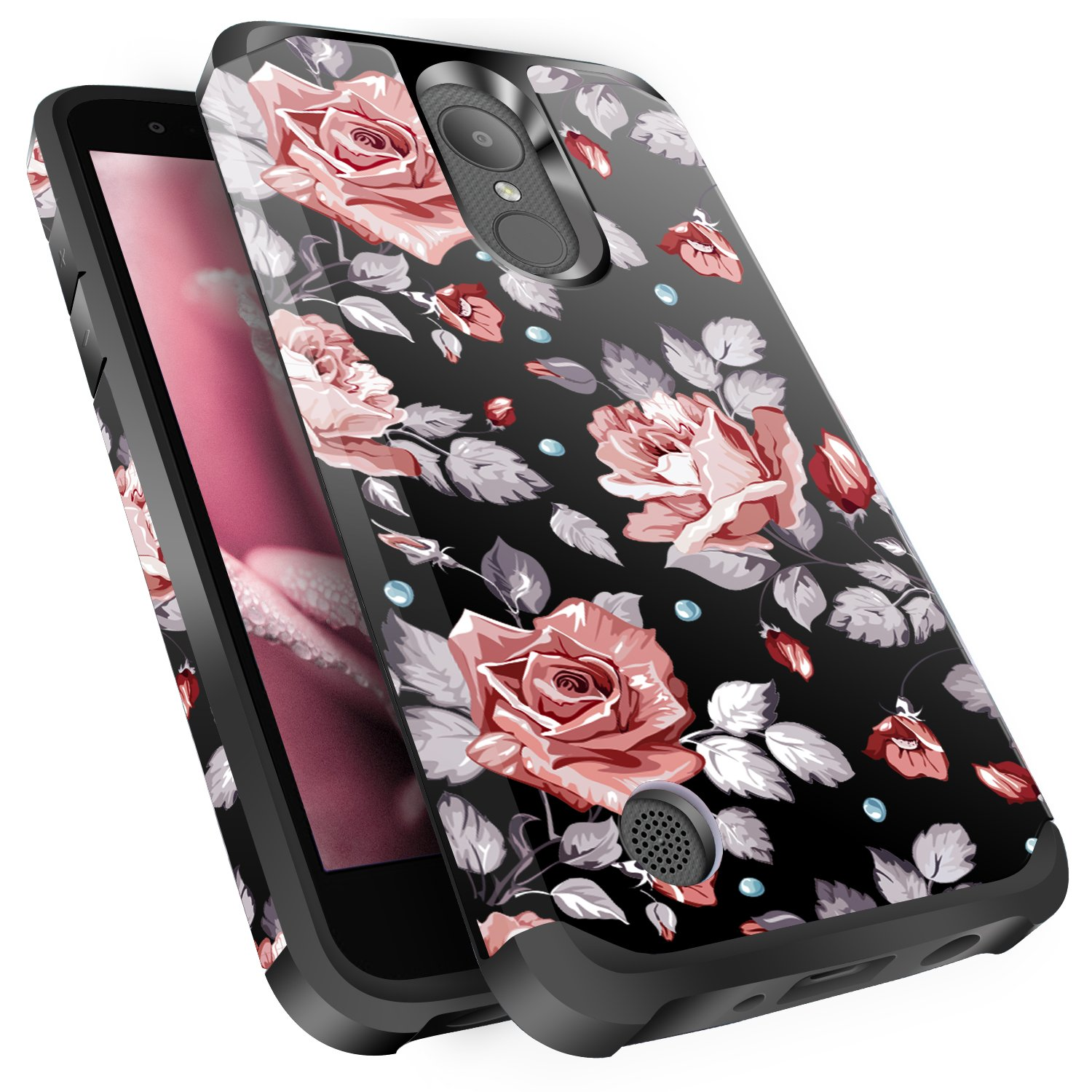 LG Aristo Case, Risio 2 Case, Phoenix 3 Case, Fortune/Rebel 2 LTE/K8 2017 Case, Miss Arts Slim Anti-Scratch Dual Layer Hybrid Sturdy Armor Protective Cover Case for LG LV3 -Rose Gold Flower/Black