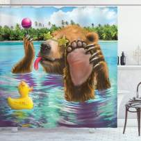 """Ambesonne Animal Shower Curtain, Happy Fancy Wild Bear in The Sea by The Beach with its Sunglasses Candies Print, Cloth Fabric Bathroom Decor Set with Hooks, 70"""" Long, Blue Brown"""