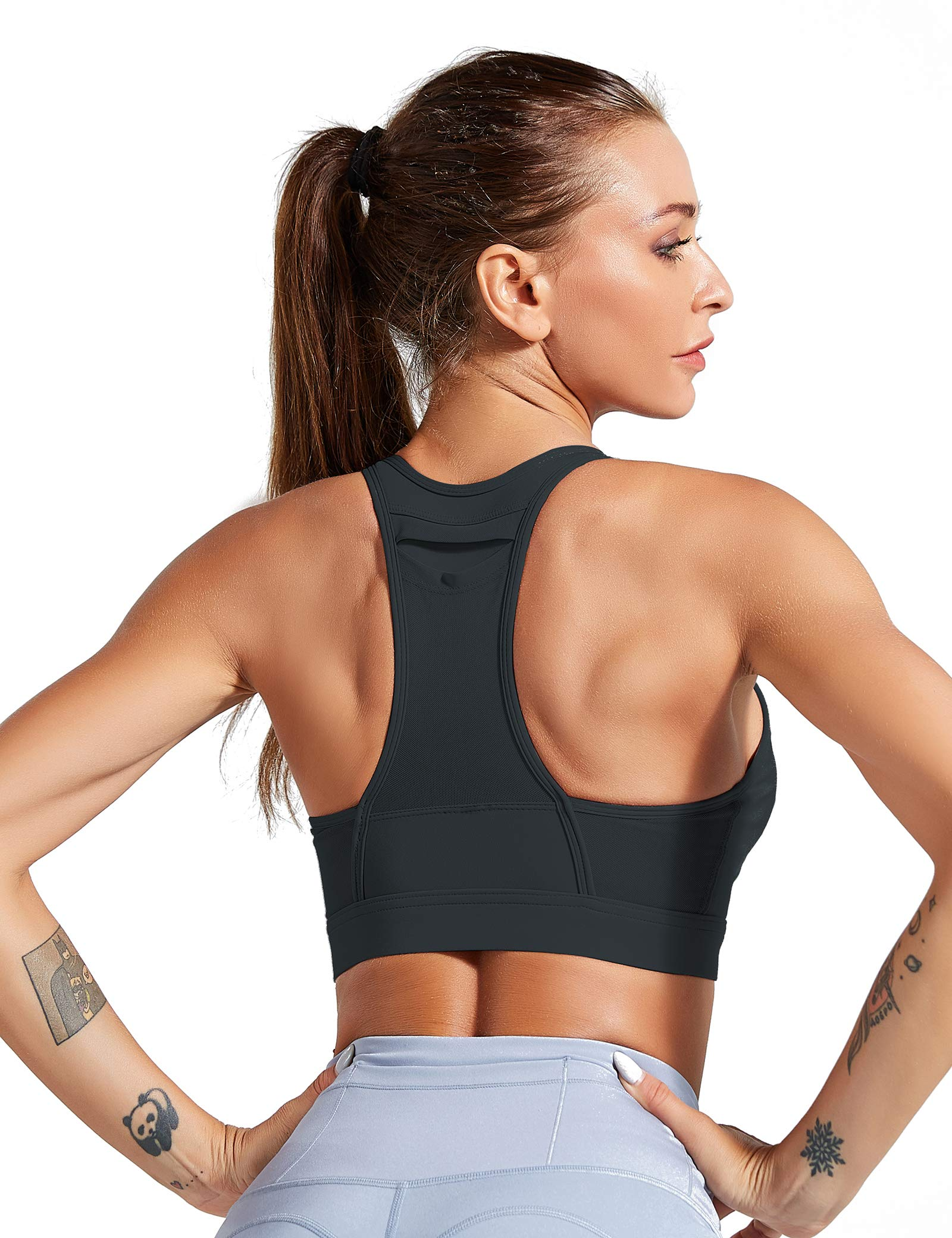 Yoga Sports Bra with Pockets High Impact Crossover Plus Size Running Workout Cardio Top with Removable Pad