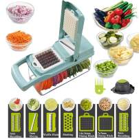 Vegetable Shredder, Vegetable Slicer,12-In-1, The Third Generation Food Shredding (Slicing) Machine for Cutting Vegetables, Cheese, Fruits, Celery, Potatoes, Carrots, Fruit Salads (Blue)