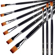 AMAGIC 9Pcs Flat Tipped Brushes with Case for Acrylic Oil Watercolor, Artist Professional Painting Kits with Synthetic Nylon Tips, Long Wood Handle