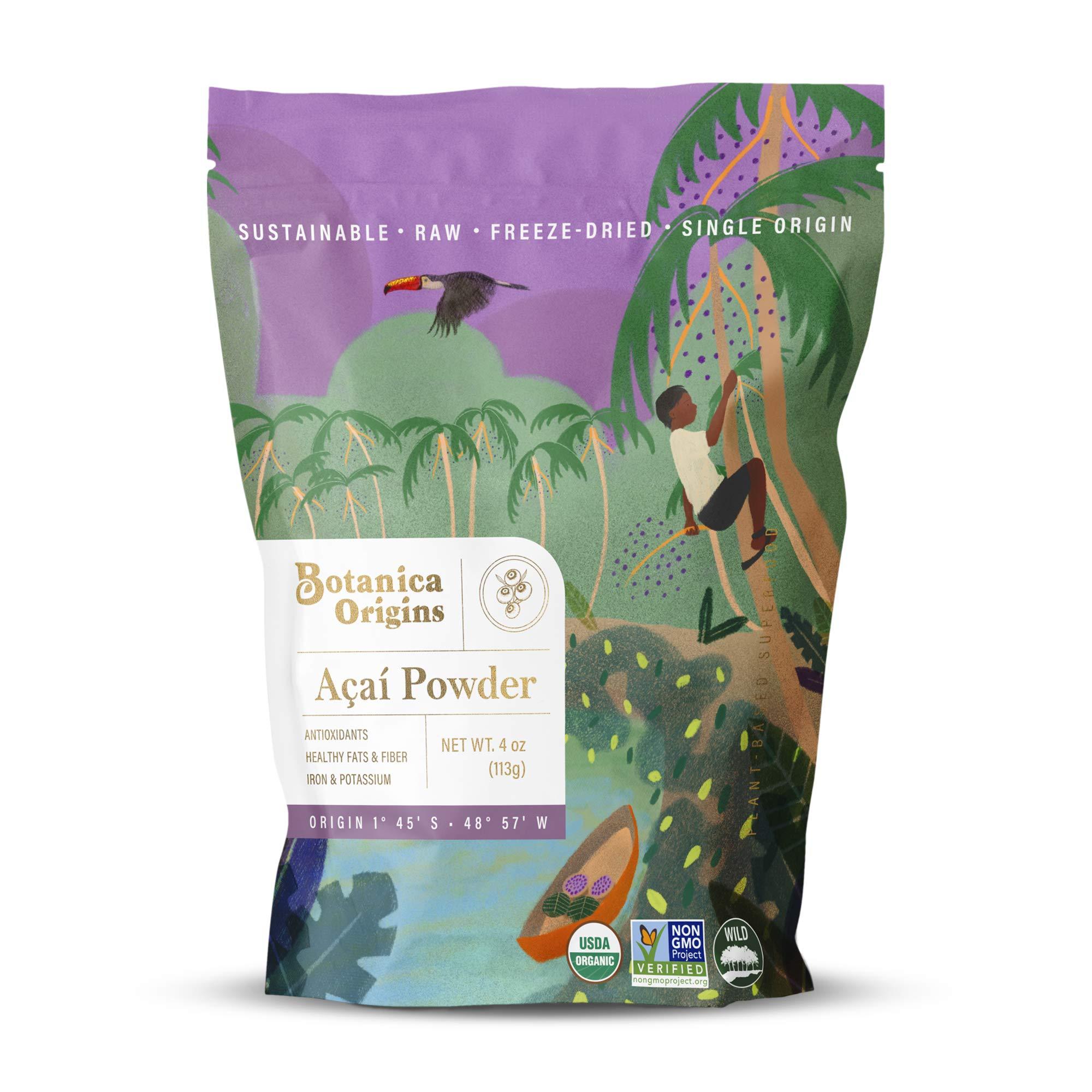 Botanica Origins Premium Wild & Organic Acai Powder, 4 oz | Raw | Freeze-Dried | Non-GMO | Wild Harvest | Vegan, Keto and Paleo Friendly