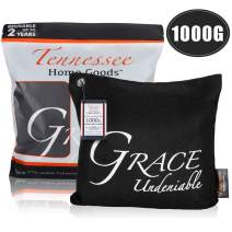 TENNESSEE HOME GOODS - Bamboo Charcoal Air Purifying Bags - Organic Odor Absorber, Safe for Kids - Decorative, Stylish Design - Home, Gym, Office, Car Freshener and Purifier - Grace Undeniable - 1000g