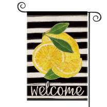 AVOIN Watercolor Stripes Lemon Garden Flag Vertical Double Sided, Welcome Summer Flag Yard Outdoor Decoration 12.5 x 18 Inch
