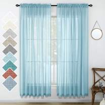 Aqua Blue Curtains 84 Inch Length for Living Room Set 2 Panels Rod Pocket Linen Look Coastal Beach Airy Flowy Lightweight Translucent Sheer Window Curtains for Bedroom 52x84 Long Country Blue Light