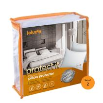 joluzzy Set of 2 Pillow Protectors - Waterproof & Bed Bug Proof Zippered Pillow Cover - Cotton, Breathable, Noiseless, Hypoallergenic, Vinyl-Free - for King Size Pillow