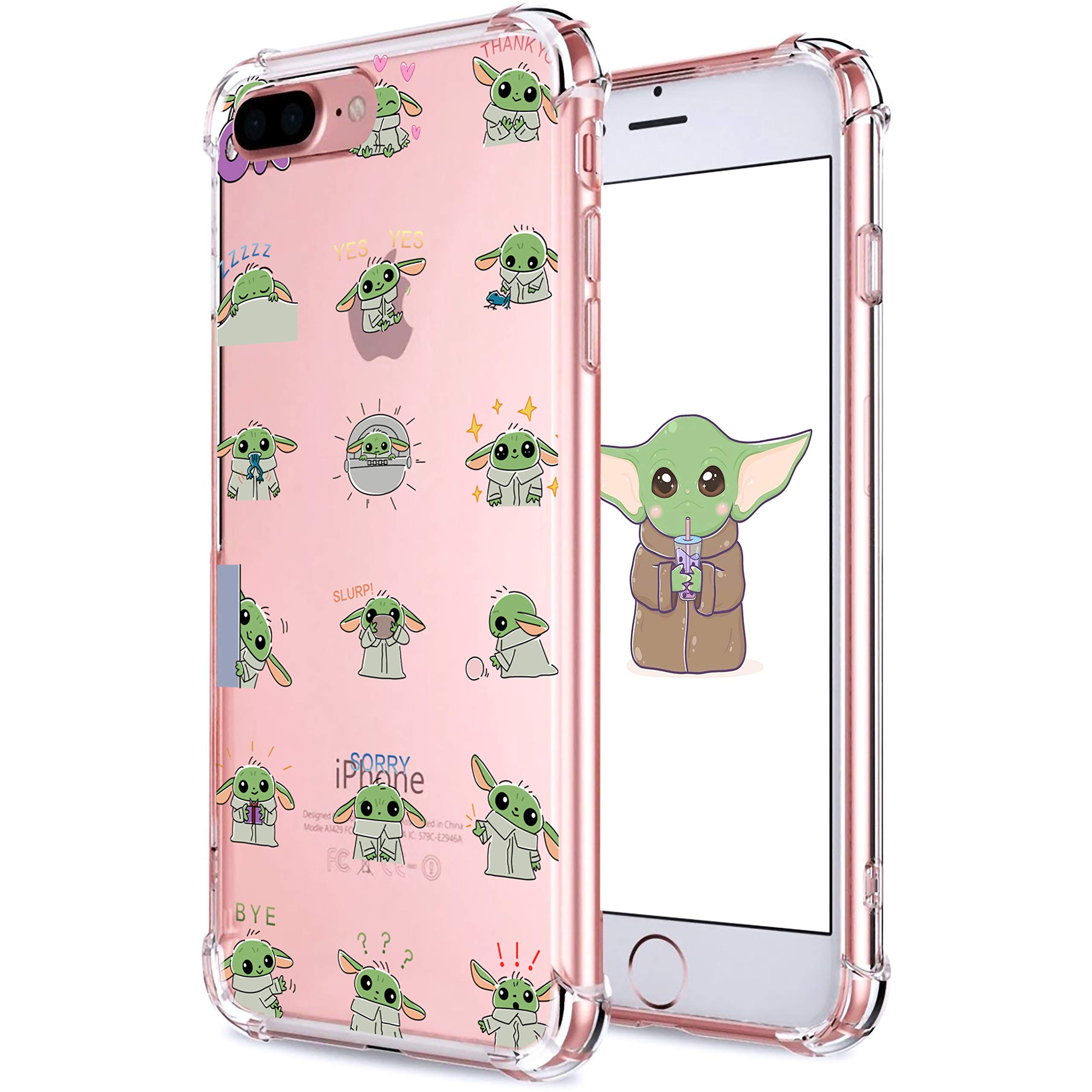 """oqpa for iPhone 7 Plus/8 Plus Case Cartoon Character Funny Cute Fun TPU Design Cover for Girls Women Teen, Fashion Cool Unique Aesthetic Clear Cases Small Yuda Baby (for iPhone 7 Plus/8 Plus 5.5"""")"""