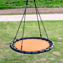 """Clevr 40"""" Tree Net Teslin Web Saucer Round Swing, Detachable 360 Degree Spin Swivel Hanging Hardware & Adjustable 71"""" Height Rope, 600 lbs Limit, Orange & Black"""