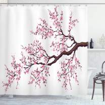 """Ambesonne Japanese Shower Curtain, Branch of a Flourishing Sakura Tree Flowers Cherry Blossoms Spring Theme Art, Cloth Fabric Bathroom Decor Set with Hooks, 84"""" Long Extra, Pink Brown"""