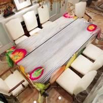 "VVA Rectangular Tablecloth - Vegetables on Wood Table, Tomato Basil Carrot Cauliflower Dill Zucchini Melon Beet Cabbage Garlic Corn Potato Eggplant Shallot - Rectangle Table Cover - 60"" x 102"""