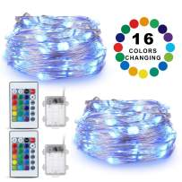 TingMiao 16 Color Changing Twinkle Fairy String Lights Battery Operated with Remote for Bedroom Party Wedding Christmas Decorative Multicolor Lights, 16.4FT 50 LED, 2 Pack