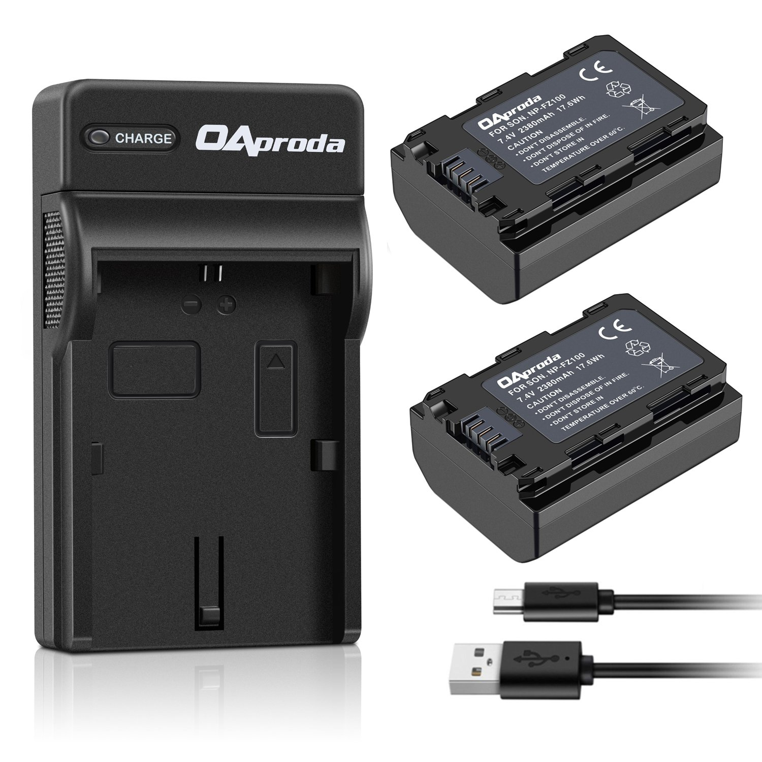OAproda 2 Pack NP-FZ100 Battery and Rapid Micro USB Battery Charger for Sony NP-FZ100, BC-QZ1, Alpha A7 III, A7R III, A9, Sony Alpha 9, A7R3 Digital Camera (Fully Decoded, 7.4V, 2380mAh)
