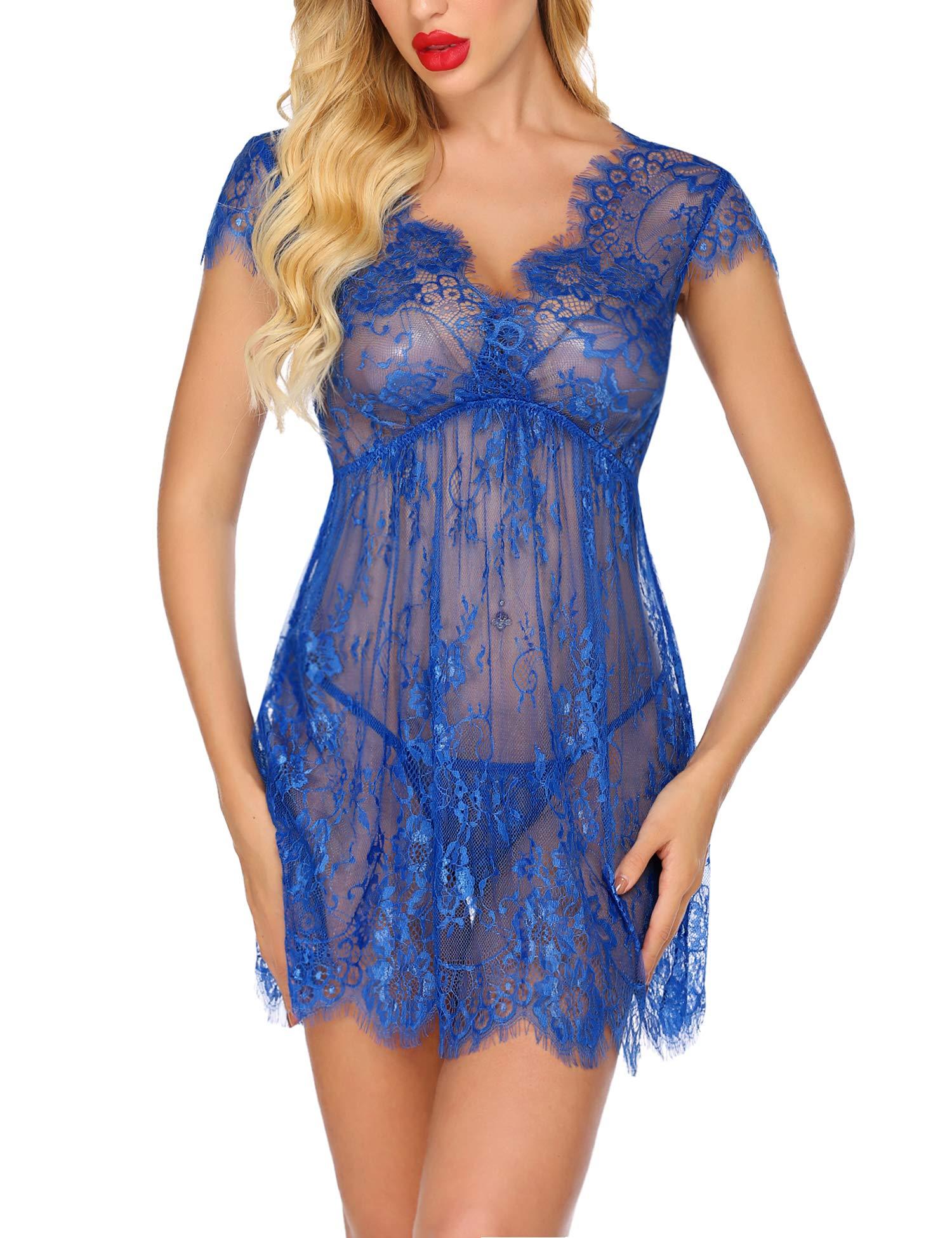 Avidlove Women Sexy Babydoll Lingerie Eyelash Mini Lace Chemise Nightwear Set