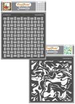 CrafTreat Texture Stencils for Painting on Wood, Canvas, Paper, Fabric, Floor, Wall and Tile - Basket Weave and Marble - 2 Pcs - 6x6 Inches Each - Reusable DIY Art and Craft Stencils