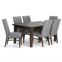 SIMPLIHOME Ezra Contemporary 7 Pc Dining Set with 6 Upholstered Dining Chairs in Slate Grey Linen Look Fabric and 66 inch Wide Table