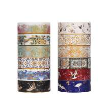 Molshine Set of 12 Washi Masking Tape, Sticky Paper Tape for DIY, Decorative Craft, Gift Wrapping, Scrapbook - Brocade Bronzing Collection(0.6 inch x 5.5 yd)