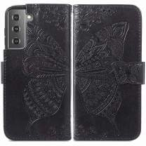 MEUPZZK Wallet Case for Samsung Galaxy S21, Embossed Butterfly Flower Premium PU Leather [Folio Flip][Kickstand][Card Slots][Wrist Strap][6.2 inch] Cover for Samsung S21 (A-Black)