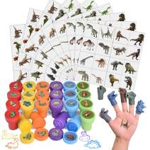 FUN LITTLE TOYS 174 Pcs Dinosaur Stamps Set Including Stamps, Stickers, Tattoos, and Dinosaur Figures for Kids Party Favors, Goodie Bag Fillers, Teacher Stamps