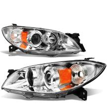 Pair of Chrome Housing Amber Corner Projector Headlight Assembly Lamps Replacement for Mazda 3 Sedan 4-Door 04-09