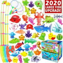 CozyBomB Magnetic Fishing Game Toys Set for Kids - Water Table Bathtub Kiddie Pool Party with Pole Rod Net, Plastic Color Ocean Sea Animals Age 3 4 5 6 Year Old, Instruction Note Included (XX-Large)