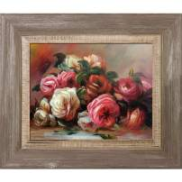 """La Pastiche RN2850-FR-837578X10 Discarded Roses with Miramar Distressed Charcoal Grey Framed Hand Painted Oil Reproduction, 15"""" x 13"""", Multi"""