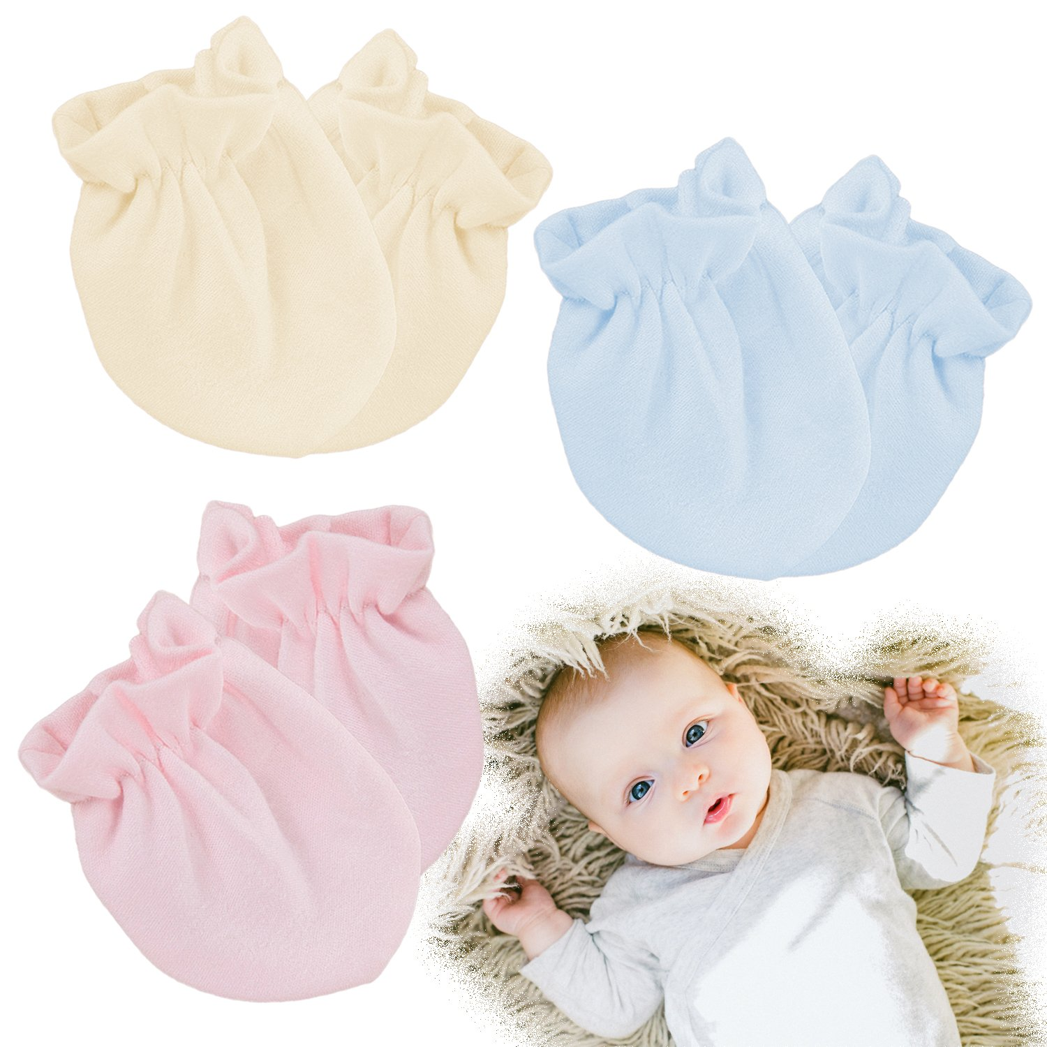 Kalevel 3 Pairs Baby Mittens No Scratch Newborn Gloves 0-6 Months Organic Cotton (Mixed Colors)