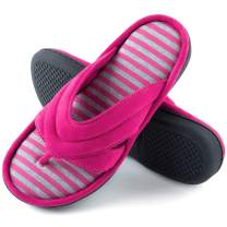 ZIZOR Women' s Memory Foam Flip Flop Slippers with Suede Upper, Ladies' Spa Thong Slippers, Summer House Shoes with Anti-Skid Rubber Sole