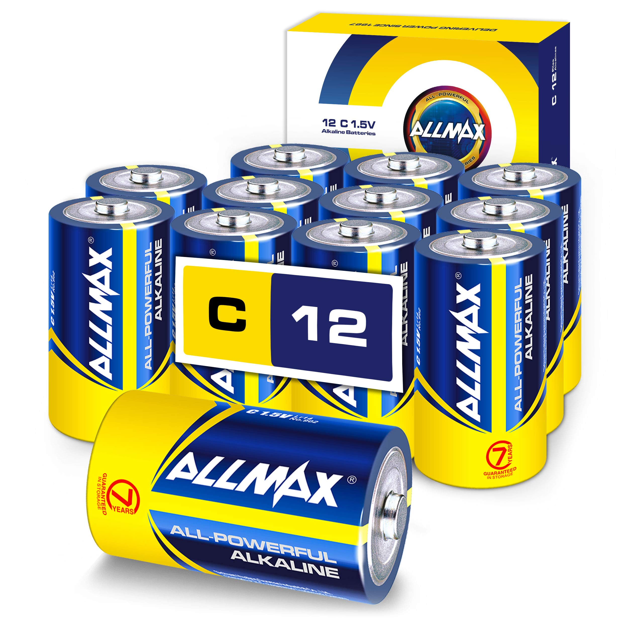 ALLMAX All-Powerful Alkaline Batteries - C (12-Pack) - Premium Grade, Ultra Long Lasting and Leak-Proof with EnergyCircle Technology (1.5 Volt)