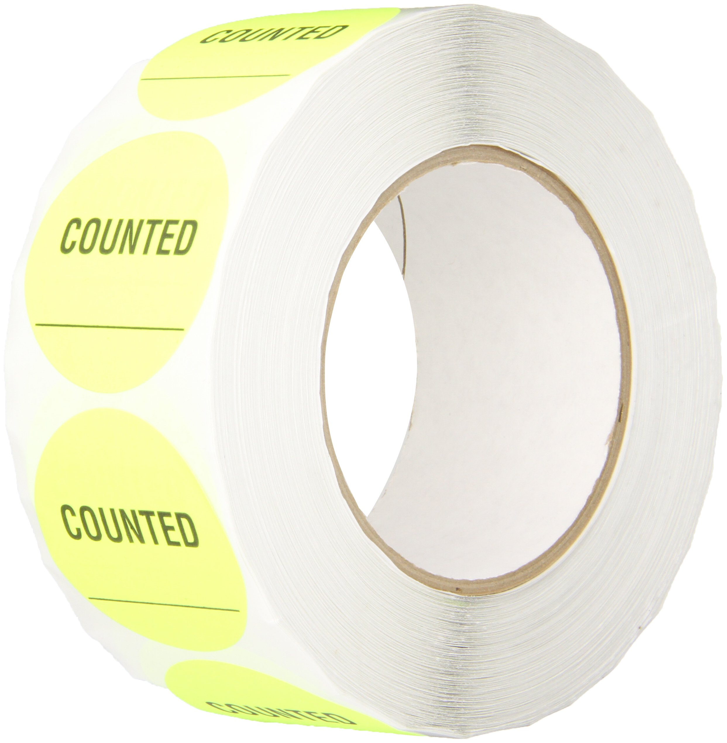"TapeCase INVLBL-022""Counted"" Inventory Control Label in Yellow [Pack in 1000] - 2 in. Circular Label for Marking, Color Coding, Notating Inventory Items"