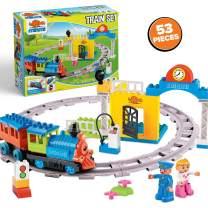 Minmi Motorized Train Set and Tracks Building Blocks - Battery Operated (53 Piece Set)