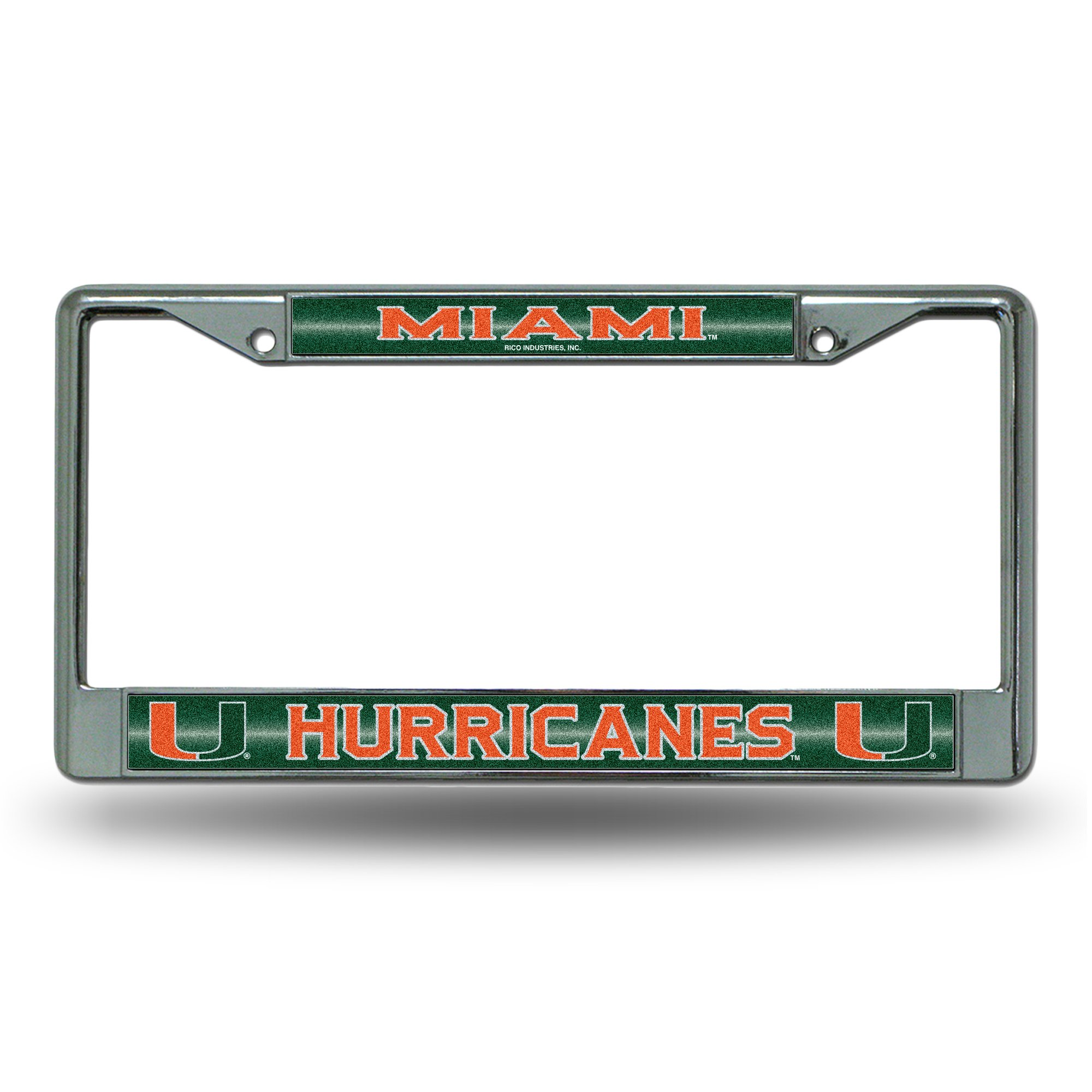 NCAA Rico Industries Bling Chrome License Plate Frame with Glitter Accent, Miami Hurricanes