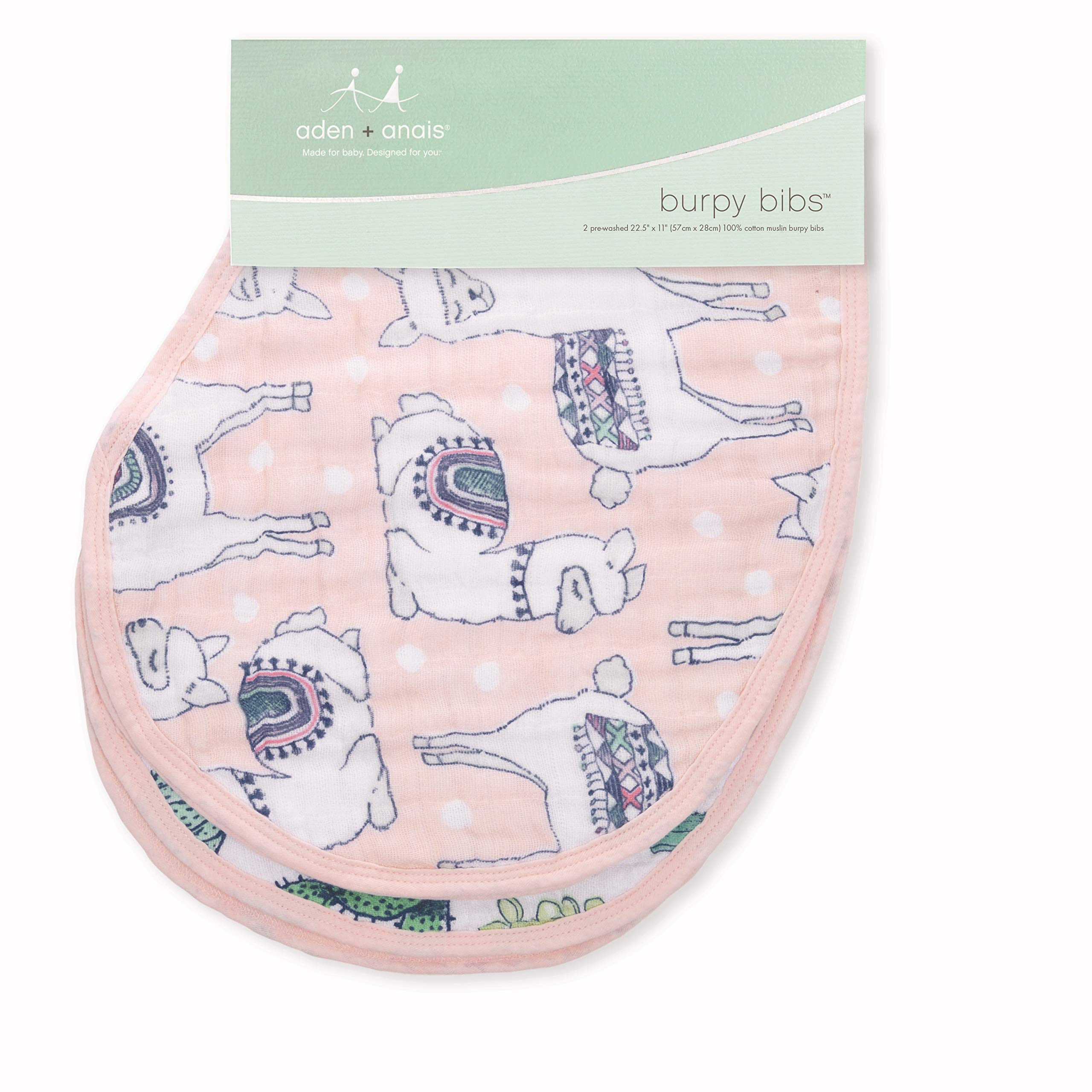 """aden + anais Classic Burpy Bib; 100% Cotton Muslin; Soft Absorbent 4 Layers; Multi-Use Burp Cloth and Bib; 22.5"""" X 11""""; Trail Blooms; 2 - Pack"""