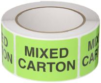 """TapeCase Shipping Packing Labels """"Mixed Carton"""", Neon Green - 500 Labels per roll (1 Roll)"""