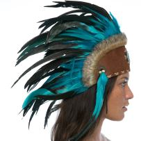 Unique Feather Headdress- Native American Indian Inspired- Handmade Halloween Costume for Men Women with Real Feathers - Aqua with Beads