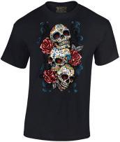 Men's Sugar Skulls and Roses Tshirt Day of Dead Halloween Shirt