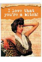 Extra Large Size Funny Birthday Card - 'Younger B-tch' With Envelope (Big Version: 8.5 x 11 Inch) - Hilarious Happy Birthday Greetings to Friends or Family - Inappropriate Adult Humor Gift J9699
