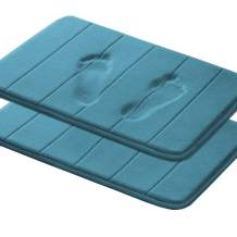 "Memory Foam Bath Mat with Anti-Skid Bottom Non Slip Absorbent Super Cozy Flannel Fleece Bathroom Rug Carpet Machine-Washable Fast Dry (2 Pack, 17"" X 24"", Dark Teal Striped Pattern)"