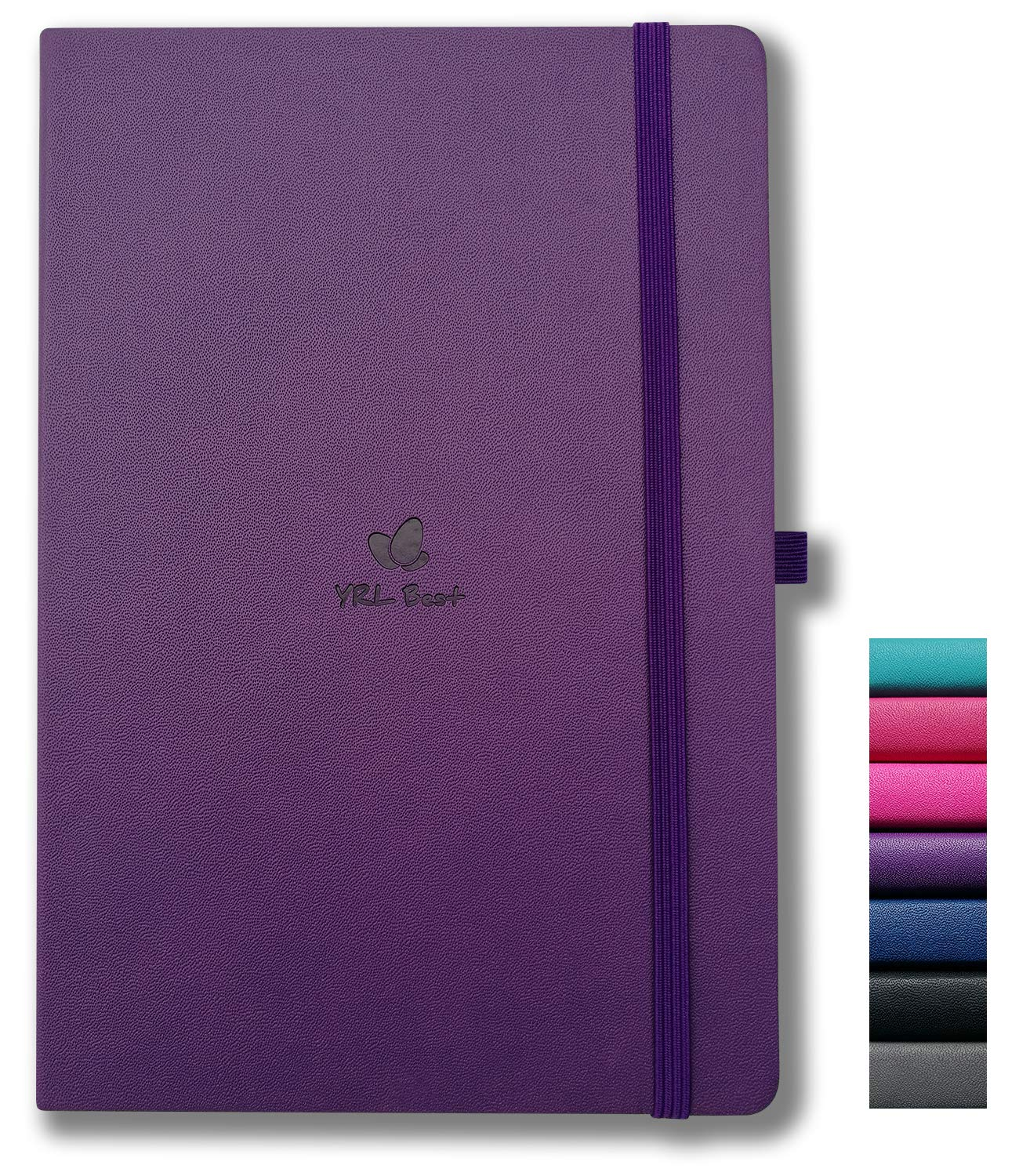 """YRL Best A5 Hardcover Notebook Journal with Pen Loop, College Ruled/Lined, 5.7x8.3"""", 192 Numbered Pages of Premium Thick Paper, Fine PU Leather, Sewn Bound, Elastic Closure, Lays Flat, Purple"""