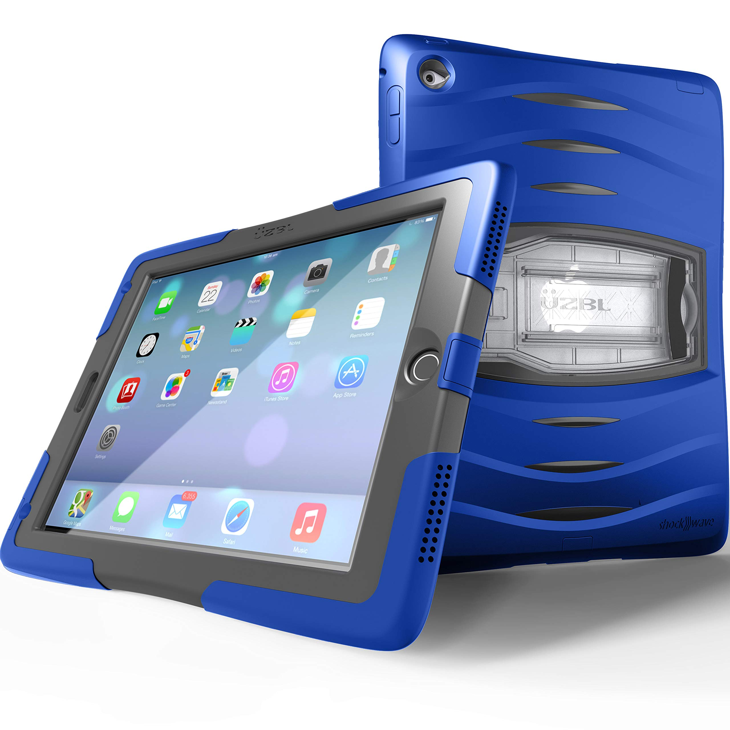 UZBL Case for iPad 9.7 6th Generation / 5th Generation, ShockWave Heavy Duty Rugged Case with Screen Protector and Removable Kickstand, Blue