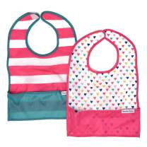 Nylon Travel Baby Bibs, Waterproof Bibs for Babies, Folds Up for Easy Clean-up, Clips to Stroller or Diaper Bag, Catches Mess with Bottom Pocket, 2-Pack Feeding Bibs, Sweetheart by Bazzle Baby