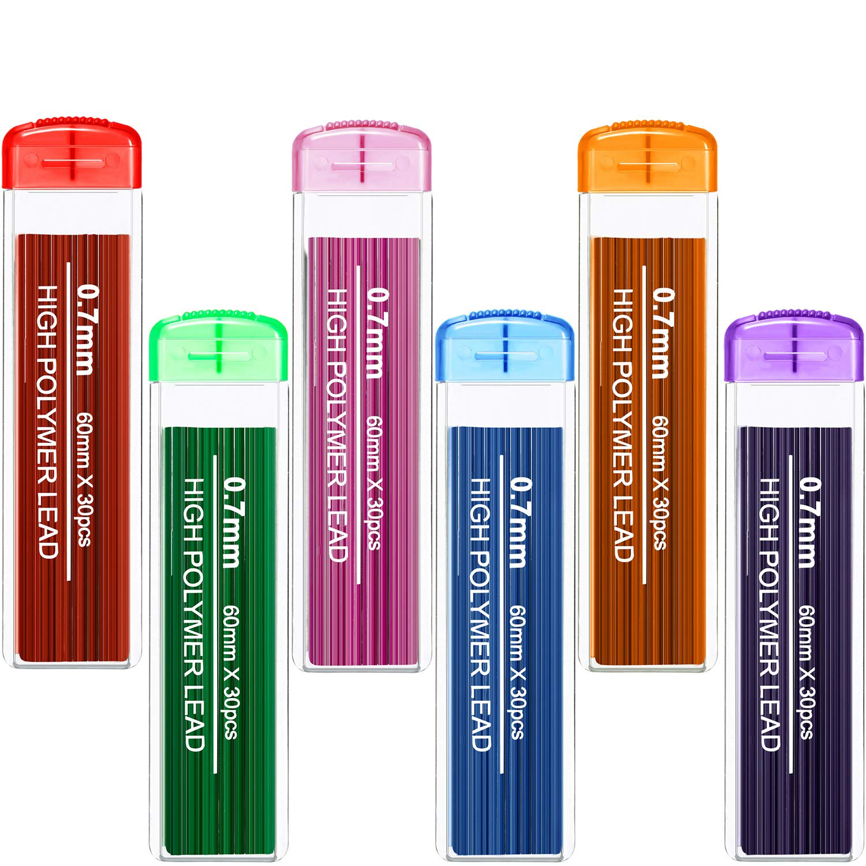 Color Lead Refill Colored Pencils Lead, 0.7 mm HB, 6 Color Set (180 Pieces)