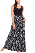 Comila Women's Summer Sleeveless Floral Print Tank Long Maxi Dress with Pockets