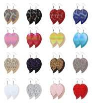 WFYOU 16 Pairs Leather Earrings for Women Lightweight Layered Leather Earrings Glitter Leaf Dangle Earrings Handmade Faux Leather Earrings