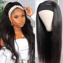 Black Headband Wigs Human Hair Straight Brazilian Virgin Human Hair Wig with Headband Attached 150% Density None Lace Front Headband Wigs Glueless Natural Black Color 24 Inch
