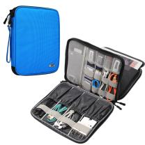 BUBM Electronics Organizer, Double Layer Electronics Bag Compatible with iPad, Cables, Plugs, External Hard Drives and More, Sky Blue