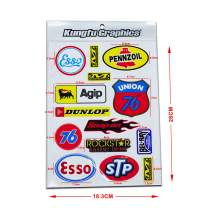Kungfu Graphics Sponsor Logo Racing Sticker Sheet Universal (7.2X 10.2 inch), White
