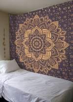 Grey Gold Passion Ombre Mandala Tapestry By Madhu International, Boho Mandala Tapestry, Wall Hanging, Gypsy Tapestry, 84 X 54 inches