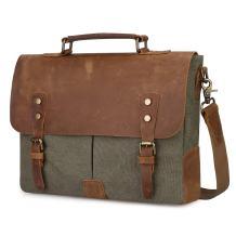 S-ZONE Vintage Canvas Messenger Bag School Satchel Shoulder Bag for 14 inch Crossbody Bag for Men and Women