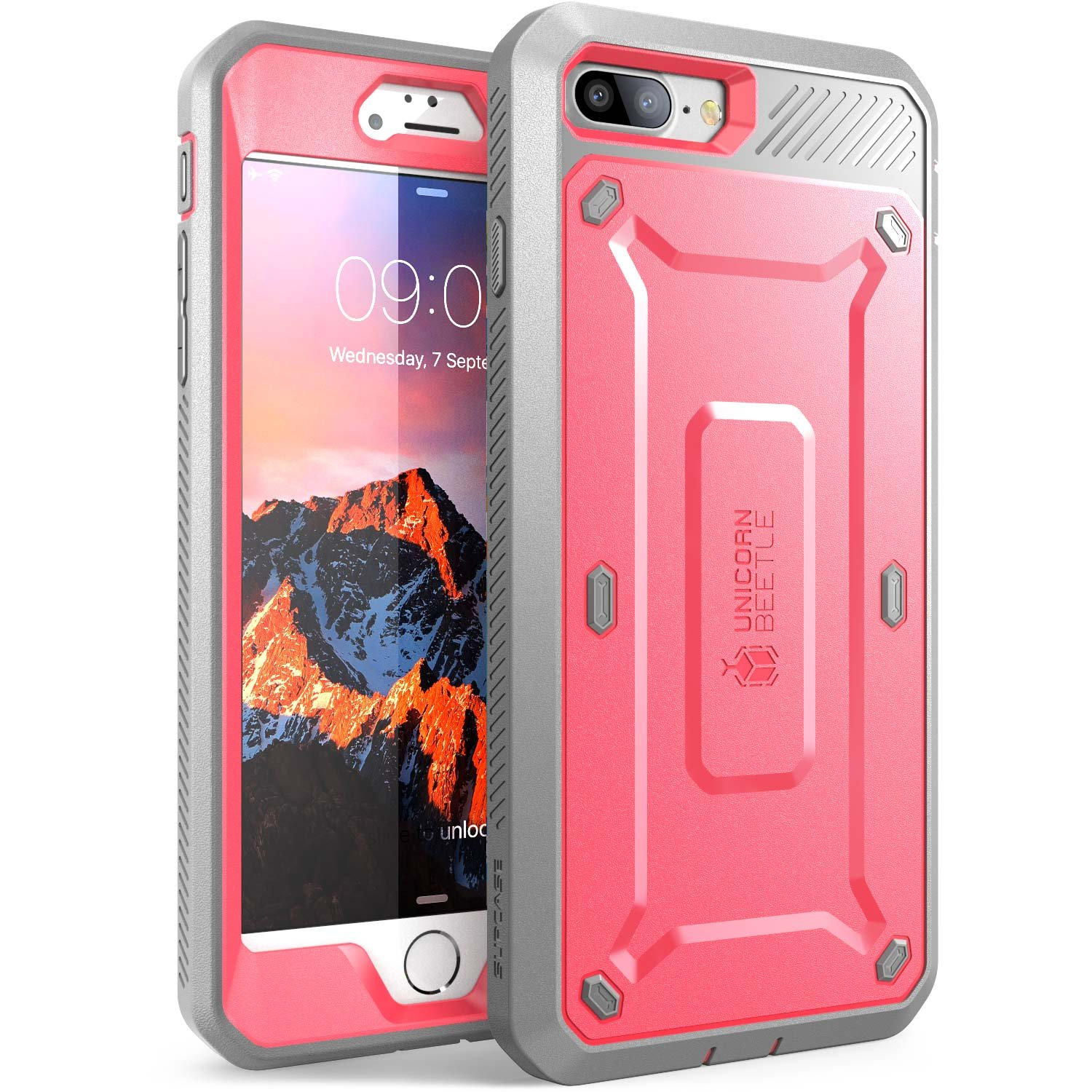 SUPCASE Unicorn Beetle Pro Series Case Designed for iPhone 7 Plus, iPhone 8 Plus Case, with Built-in Screen Protector Full-Body Rugged Holster Case for iPhone 7 Plus/iPhone 8 Plus (Pink/Gray)